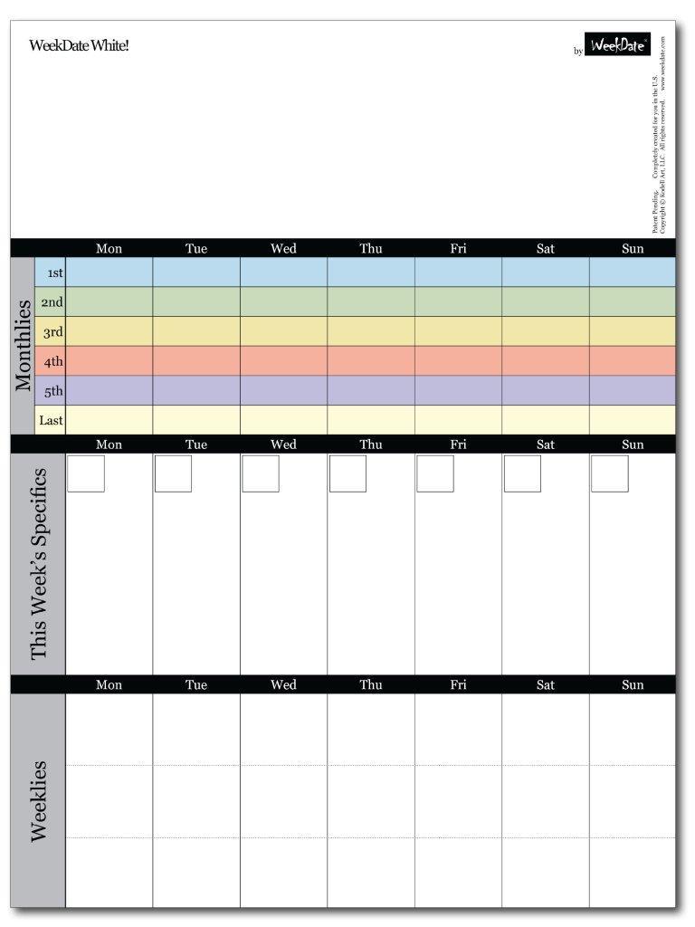 weekdate best paper calendar weekly planner organizer calendar weekly calendar